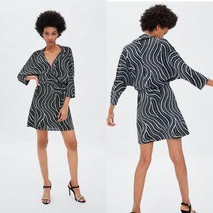 Zara Shiny Wrap Glitter Mini Dress